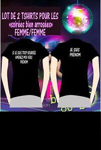 LOT de 2 T-SHIRTS SI JE SUIS BOURRÉE FEMME / FEMME + (votre surnom)