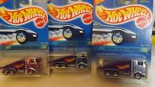 1995 Hotwheels Lot of 3 Ramp Trucks Racing Metals Pink-Blue-Chrome Cab Variation