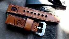 24mm Handmade leather watch strap Magrette logo