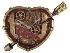 STEAMPUNK ANTIQUE VINTAGE WALL CLOCK WINGED GEAR CLOCKWORK HEART CUPID FIGURINE