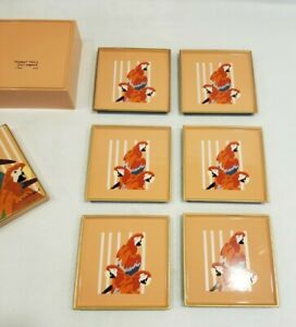 """Otagiri """"Parrot Tree"""" 6 pc Coaster Set T. Taylor Made in JAPAN Vintage Macaws"""