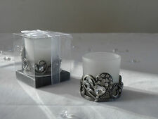 Silver Antique Metal Heart Gem Jewel votive Glass Holder White Candle Gift Boxed