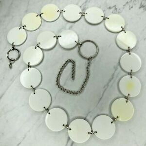 Silver Tone White Plastic Disc Belly Body Chain Link Belt Size XL 2X