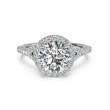 Real 14K White Gold Diamond Engagement Ring Round Size J N P M