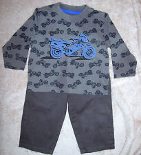 18 month boys dark gray motorcycle shirt by Kid's Korner & matching gray pants