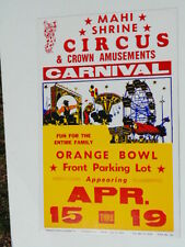 Older cardboard poster:  Mahi Shrine Circus, Orange Bowl front parking lot