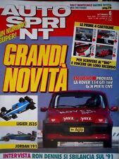 Autosprint 6 1991 Intervista Ron Dennis. Nuove Lieger JS35 e Jordan 191. SC.54