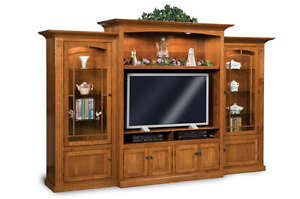 Amish TV Entertainment Center Mission Shaker Wall Unit Solid Wood Media Cabinet