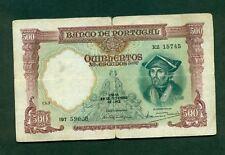 F.C. BILLETE DE PORTUGAL 500  ESCUDOS  1942  CHAP  7  P.155  B/C+roturas