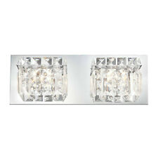 Crystal 2-Light Bathroom Fixture Wall Candle Sconce Vanity Lighting Glass Lamp