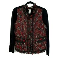 NWOT Cache Womens Full Zip Tweed Fringe Knit Stretch Jacket Ribbed Black Red XL