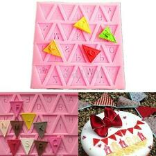 Silicone Letter Flag Bunting Fondant Mold Chocolate Baking Tool Candy Cake Decor