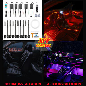 6m Car Interior Ambient Light RGB LED Strip Bluetooth Phone APP 14in1 For Dodge