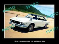 OLD POSTCARD SIZE PHOTO OF 1969 MAZDA LUCE ROTARY COUPE LAUNCH PRESS PHOTO