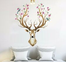 Sika Deer Head Flowers Bird Wall stickers Wall Decals Kids Home Decor Mural DIY