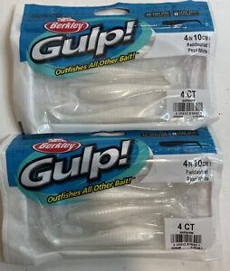 "2 Packs Gulp Saltwater Fishing Baits 4"" Paddle Shad Swimbaits Pearl White Color"