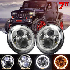 2x 7'' Round LED Halo Angel Eye Headlight DRL Light For Jeep Wrangler JK CJ