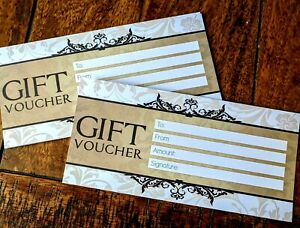 6 x Blank Gift Vouchers Certificates For Money Gifts, Quality Card & Print