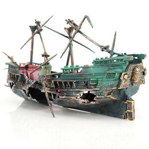 Artificial Pirate Ship Wreck Sailing Boat Home Aquarium Fish Tank Decoration