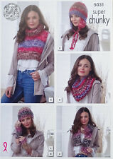 2e63177ec7f9bc KNITTING PATTERN Ladies Hat Helmet Scarf Snood   Polo Neck Super Chunky 5031