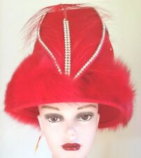 Red Hat with Ostrich Feathers and Rhinestones and Fox Trim Costume Opera Wedding