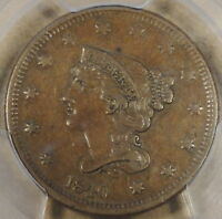 1840 Large Date Braided Hair Large Cent PCGS AU50