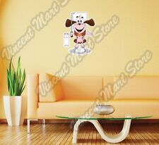 "Funny Dog Sitting Toilet restroom Wall Sticker Room Interior Decor 16""X25"""