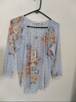 Lauren Conrad Sheer Floral Half Button Long Sleeve Blouse Women Size S Small