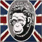 "BANKSY STREET ART CANVAS PRINT Monkey Queen England flag 18""X 12"" stencil poster"