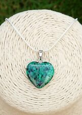 GENUINE Natural Epidote Heart Pendant Necklace with gift pouch