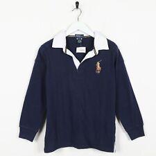 Vintage Kids RALPH LAUREN Rugby Polo Shirt Top Navy Blue | Medium M