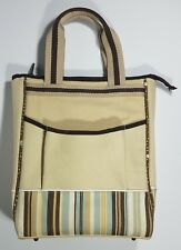 Picnic at Ascot beige brown blue striped deluxe insulated wine cooler bag 3 slot