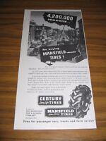 1953 Print Ad Mansfield Tires & Century Tire 50's Small Town Street Scene OHIO