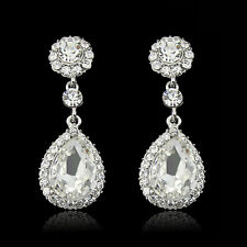 Trendy Rhinestone Bridal Water Drop Earrings Wedding Crystal Stud Earings   R