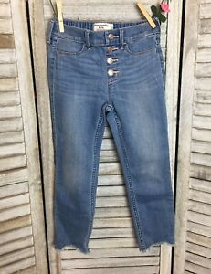 Abercrombie Kids High Rise Ankle Pull On Jean Leggings Sz 7/8 Distressed Ankle