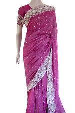 INDIAN Bollywood RRP £ 275 Magenta perline paillettes zardosi///Matrimonio Sari Saree GARBA
