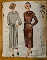 "Vtg 1948 Sewing Pattern Womens Dress Tea Length Travel McCall 7443 Size 16 34"""