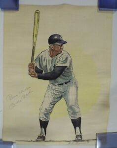 "Original Mickey Mantle Artwork Signed by Mickey Mantle & Artist 18x24"" w/COA"