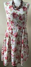 Cath Kidston London Size 8 Cream & Pink Large Rose Print Sleeveless Summer Dress