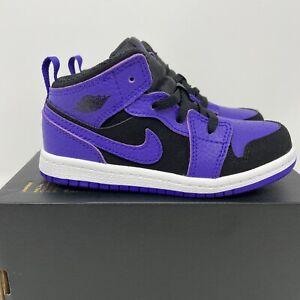 Nike Air Jordan 1 Mid TD Size 9c Black Purple White Retro 640735-051 New