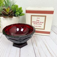 Avon 1876 Cape Cod Ruby Red Footed Candy Dish With Box
