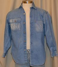 Vintage RALPH LAUREN Long Sleeve Blue 100% Cotton Heavy Denim Shirt Mens Small