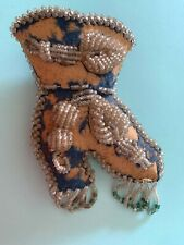 Antique Beaded Pin Cushion Shoe boot IROQUOIS NATIVE AMERICAN