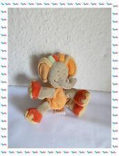 H - Doudou  Peluche Eléphant Beige Orange Vert Doukidou