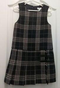 Jacadi Girls Grey Pink Checked Wool Sleeveless Dress Age 6,  8 NWT