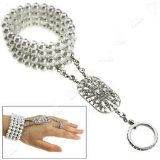 Silver Pearl Hand Harness Bracelet Bangle Slave Chain Link Finger Ring