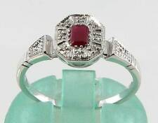 CLASSIC 9K 9CT WHITE GOLD INDIAN RUBY & DIAMOND ART DECO INS RING FREE RESIZE