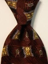 ROBERT TALBOTT Studio Men's 100% Silk Necktie USA Geometric Purple/Brown GUC