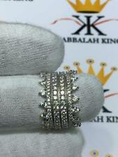 Platinum Sterling Silver White Sapphire Micro Pave 4 Eternity Stack Crown Rings