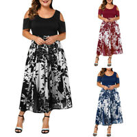 Women Casual Plus Size O-Neck Print Stitching Off-Shoulder Short Sleeve Dress US